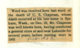 The Obituary of C. S. Chapman