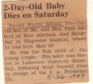 Two Day Old Baby Dies on Saturday