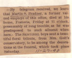 The Obituary of Martin S. Bradner