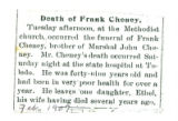 Death of Frank Cheney
