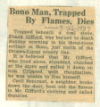 Bono Man, Trapped By Flames, Dies