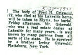 Obituary of Fred H. Griswold
