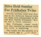 Rites Held Sunday For Fehlhaber Twins