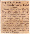 Body of W.W. Berry Brought Here for Burial