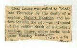 Report of the deaths of Hubert Ganther and Anthony Lauer