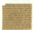 The Obituary of Henry Gates of Magadore, Ohio