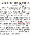 Ames Infant Dies in Toledo