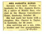 Mrs. Augusta Burns