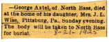 Obituary of George Axtel