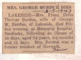 Mrs. George Burdue Dies