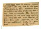 The Obituary for John Heck
