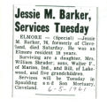 Jessie M. Barker, Services Tuesday