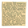 Report detailing the drowning death of Jack R. Hooker of Toledo(Ohio)