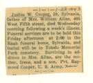 The Obituary for Justus W. Cooper of Sylvania(Ohio)