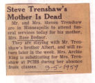 Steve Trenshaw's Mother is Dead