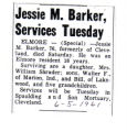 Jessie M. Barker Services Tuesday