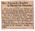 Mrs. Norgard's Brother Is Buried On Thursday