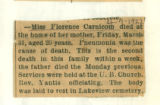 The Obituary for Miss Florence Carnicom