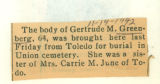 Burial report for Gertrude M. Greenberg