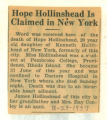 Hope Hollinshead Is Claimed in New York
