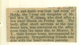 The Obituary for 7 year old Mable Green
