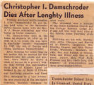 Christopher I. Damschroder Dies After Lengthy Illness