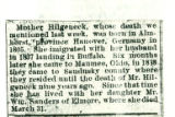 Obituary of Mother Hilgeneck