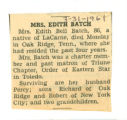 Obituary of Edith Batch