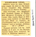 Wilhelmine Angel Obituary