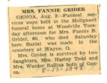 Obituary of Fannie Grider