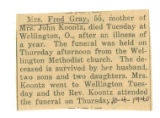 Obituary of Mrs. Fred Gray
