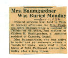 Mrs. Baumgardner Was Buried Monday