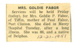 Obituary of Goldie P. Fabor