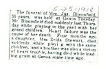 Obituary of Mrs. Jas. Bloomfield