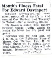 Month's Illness Fatal For Edward Davenport