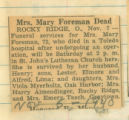 Mrs. Mary Foreman Dead