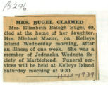 Obituary of Elizabeth Bugel