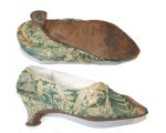 Green silk brocade slippers