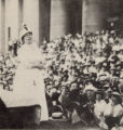 Harriet Taylor Upton speaking at Ohio Statehouse