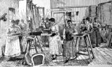 Women making chairs illustration