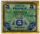 Five-franc banknote used as Allied Military Currency