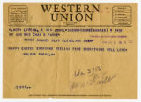 C. Walder Parke telegram to parents for Easter, April 9, 1944