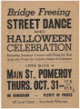 'Street Dance and Halloween Celebration' broadside