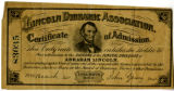 Abraham Lincoln dioramic certificate of admission
