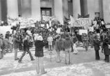 Demonstrators Protesting Against Governor Rhodes