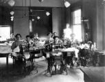 Girls' Industrial School Inmates in Sewing Class