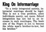 Martin Luther King, Jr. on Interracial Marriage Newspaper Article