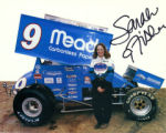 Sarah Fisher with Sprint Car Photograph