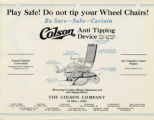 Colson Corporation Anti-Tipping Wheelchair Advertisement